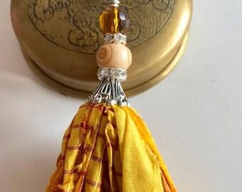 Sari Silk Tassel-Gold & Yellow Tassel Necklace-Boho Tassel Jewelry