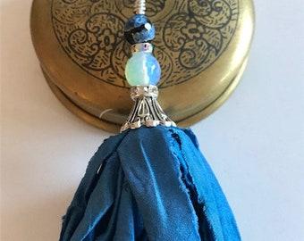 Sari Silk Tassel-Recycled Blue Tassel-Boho Tassel Necklace