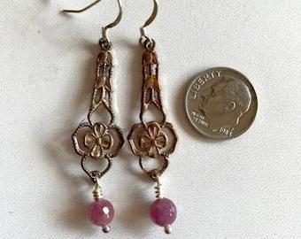 Ruby Drop Earring - Brass Filigree Earrings With Ruby - Vintage Brass Earrings