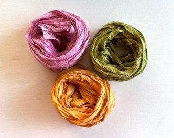 Sari Silk Ribbon - Recycled Sari Silk Ribbon - Pink, Bright Olive & Tangerine -  5 Yds Each, 15 Yds Total