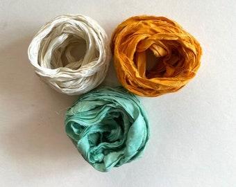 Recycled Sari Silk Ribbon - Sari Silk Ribbon - Cream, Tangerine & Aqua, 5 Yards Each, 15 Yds Total