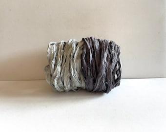 Sari Silk Ribbon - Recycled Sari Silk Ribbon - Blue Gray & Charcoal, 5 Yds Each, 10 Yds Total