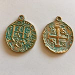 Spanish Coin Charms - Coin Replica With Patina Finish