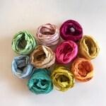 10 Color Sari Silk Sampler - Recycled Multi Sari Ribbon - 10 Pastel Colors, 2 Yds Each, 20 Yds, Mixed Media Ribbon