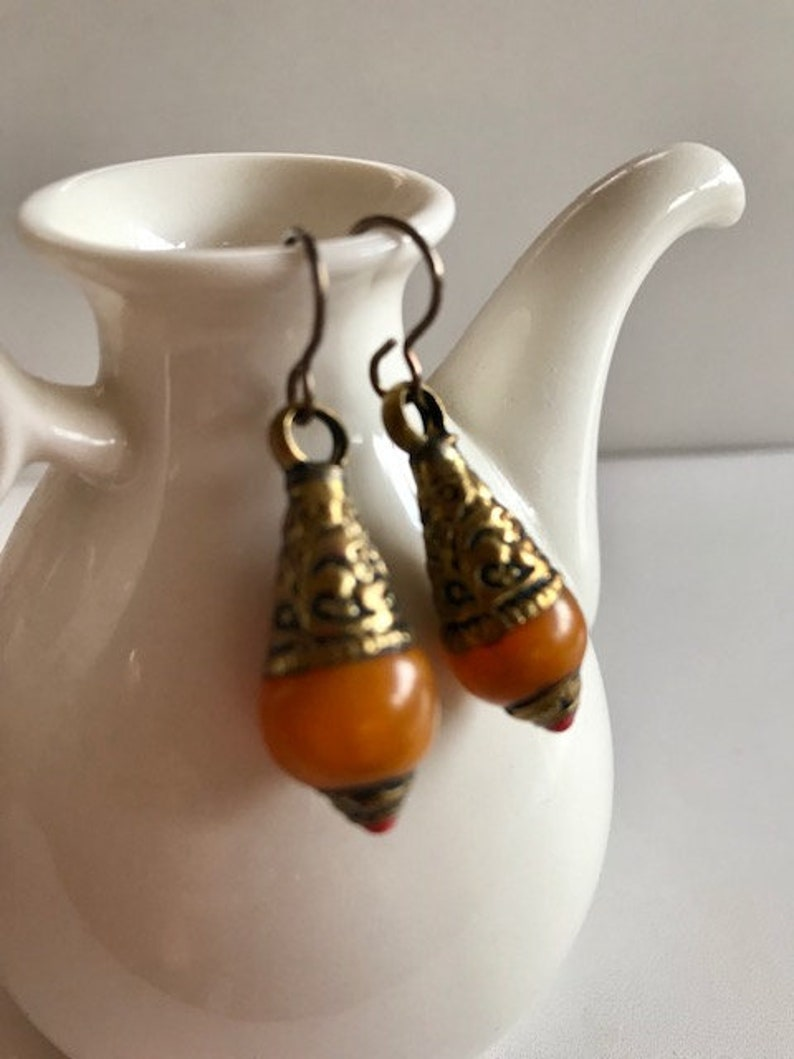 Amber & Brass Drop Earrings  Amber Resin Teardrop Earrings image 0