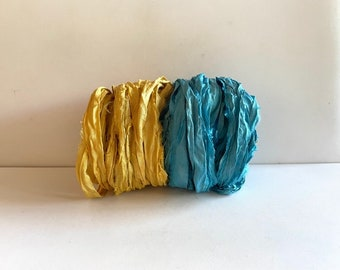 Sari Silk Ribbon - Recycled Sari Silk Ribbon - Goldenrod & Ocean Blue, 5 Yds Each,  10 Yds Total