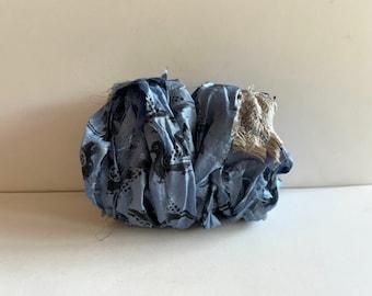 Printed Bird Sari Silk Ribbon - Recycled Sari Silk Ribbon - Blue Bird Print With Embroidery Sari Silk, 10 Yards