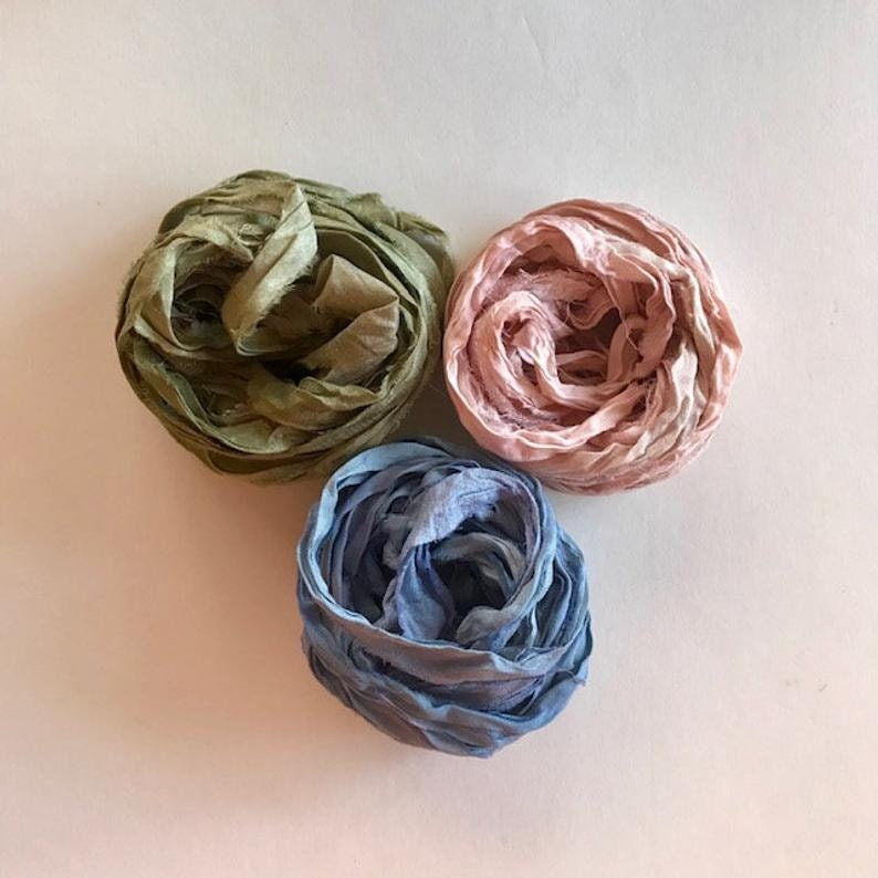 Sari Silk Ribbon  Recycled Sari Silk Ribbon  Sage Pink & image 0
