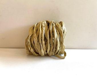 Sari Silk Ribbon - Recycled Sari Silk Ribbon - Khaki Sari Ribbon, 10 Yards