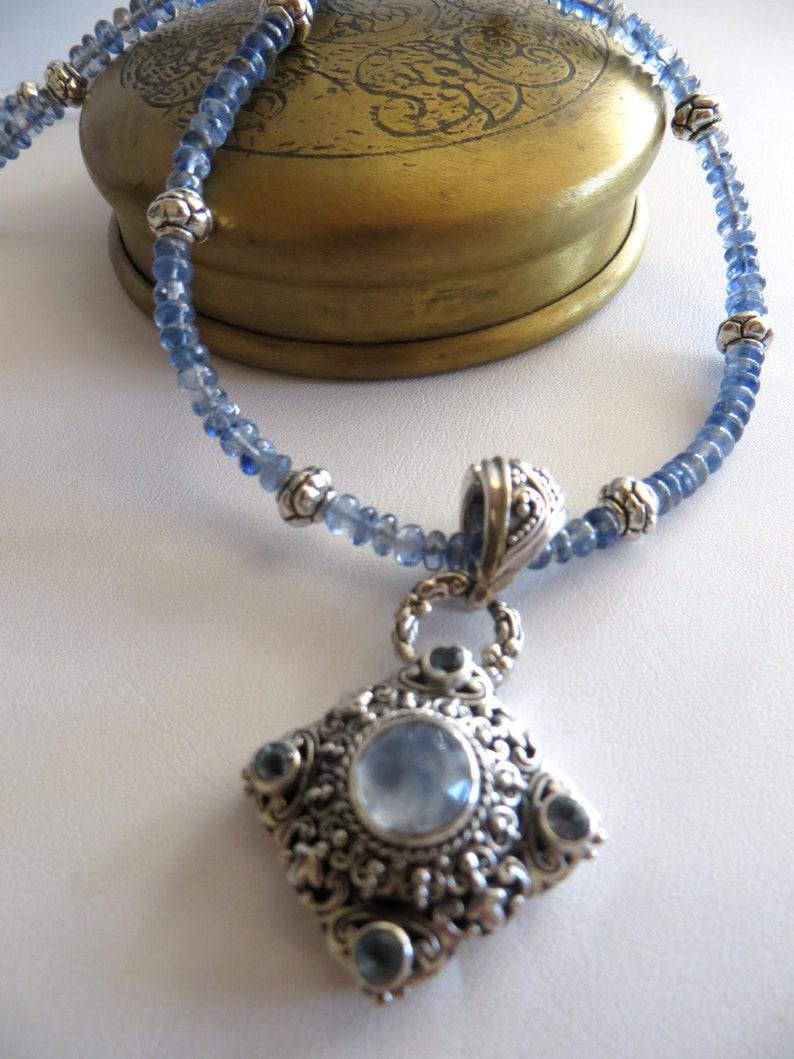 AKyanite and Moonstone Pendant Necklace   Kyanite Beaded image 0