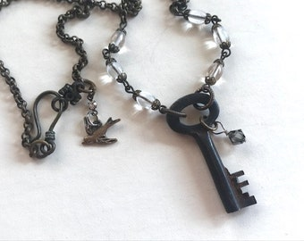 Antique Key Pendant Necklace - Skeleton Key Necklace - Antique key Jewelry