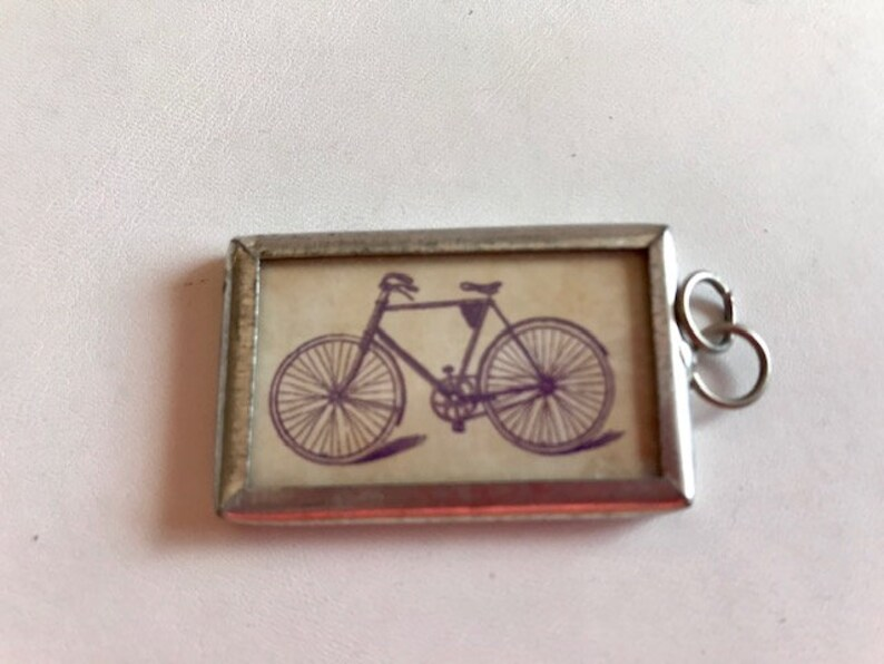 Soldered Glass 2-Sided Pendant  Vintage Bicycle Pendant  image 0