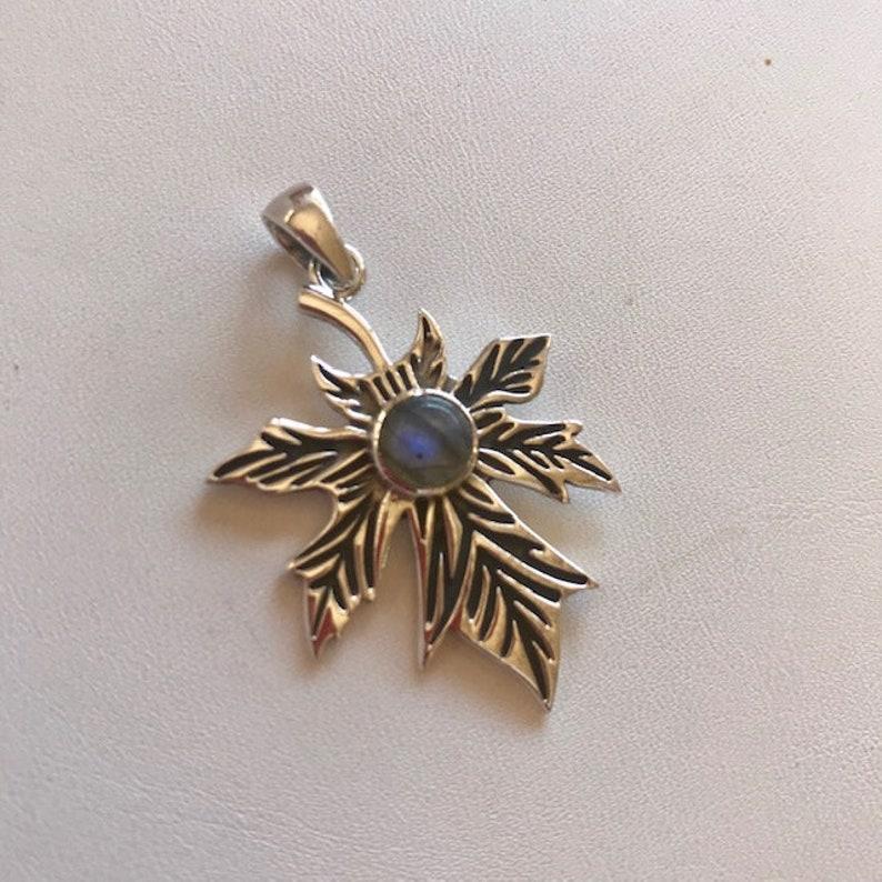 Large Sterling Leaf Pendant With Labradorite  Sterling Silver image 0