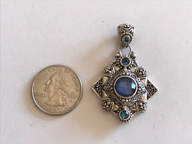 Mother of Pearl Quartz Pendant With Blue Topaz  Bali Silver image 0
