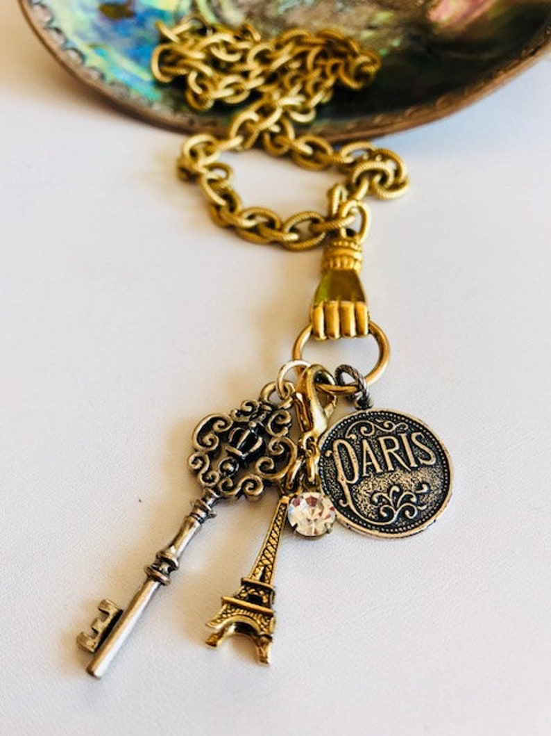 Gold Charm Necklace  Paris Charm Necklace  French Charms image 0
