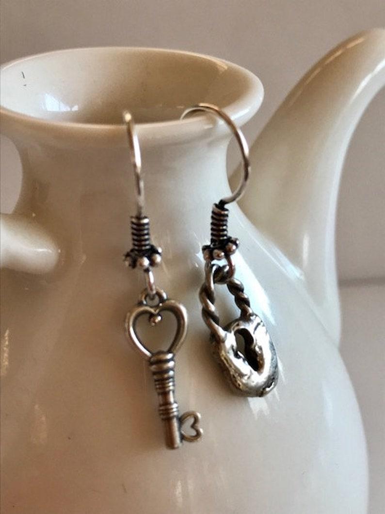 Lock & Key Earrings  Small Sterling Silver Key Earrings image 0