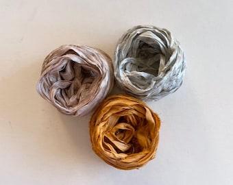 15 Yards Sari Silk Ribbon - Recycled Sari Silk Ribbon - Mauve, Blue Gray & Gold, 5 Yards Each Color
