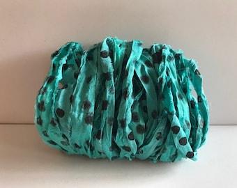 Chiffon Sari Silk Ribbon - Aqua Dot Chiffon, Sari Ribbon - 10 Yards Journaling Ribbon