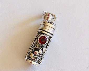 Balinese Silver Pendant-Garnet Prayer Box Pendant