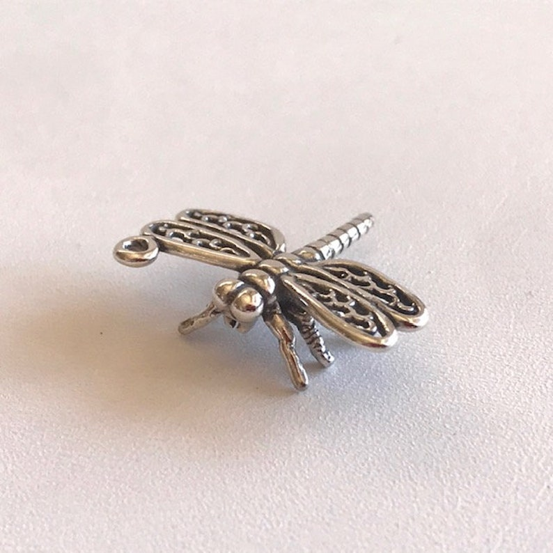 Silver Dragonfly Charm  Sterling Silver Charms  3-D image 0