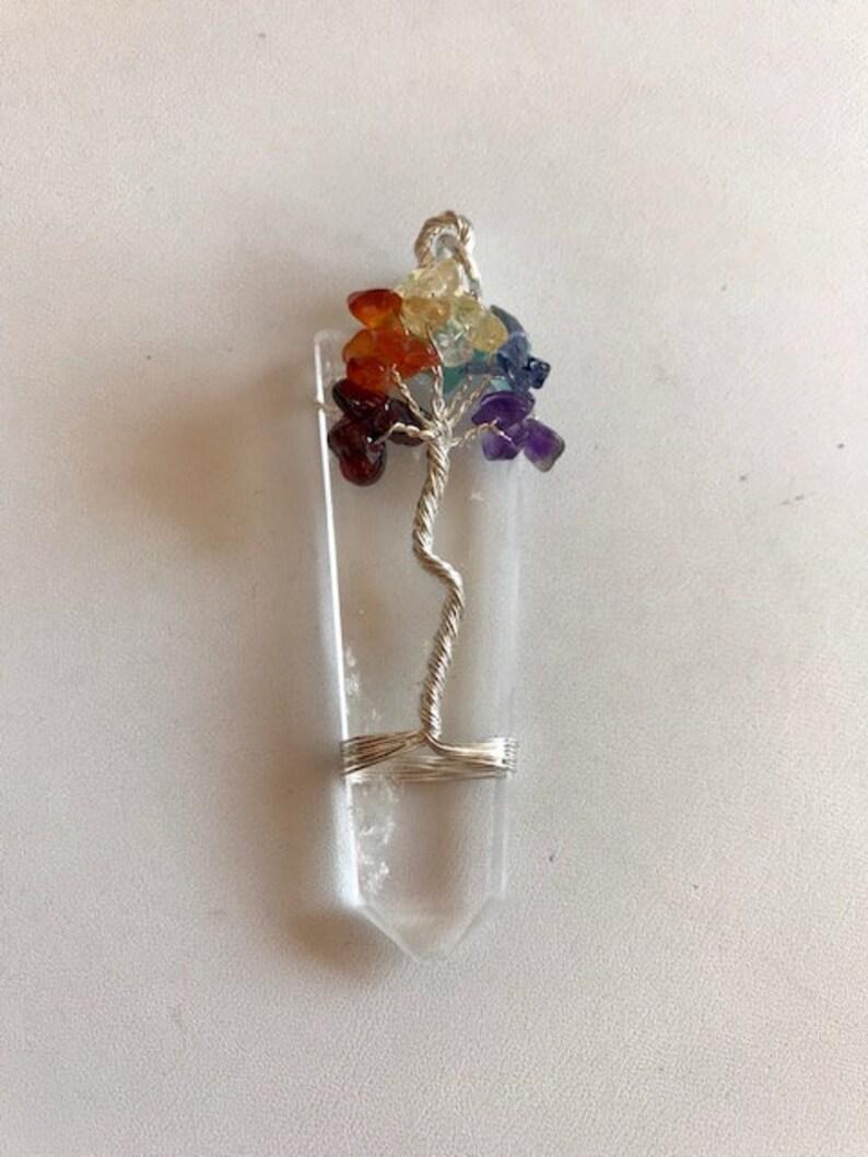 Crystal Point Tree of Life Necklace  7 Chakra Tree of Life image 0