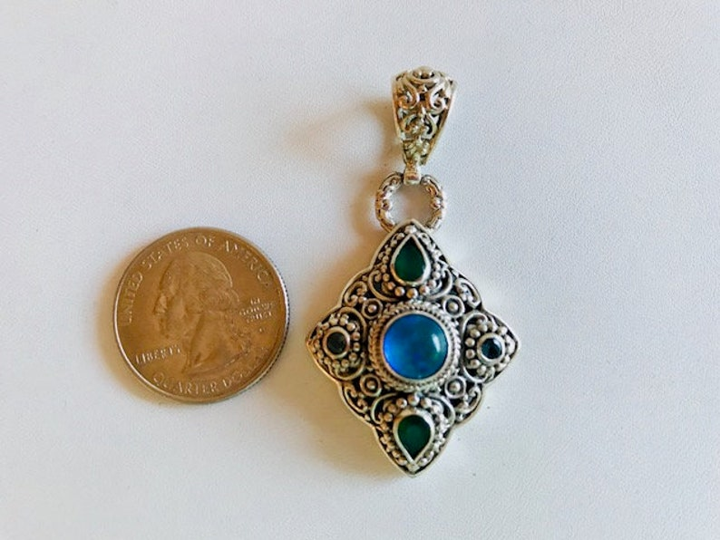 Multi Gemstone Pendant  Bali Silver Pendant With Opal & image 0