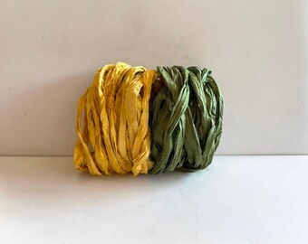 Recycled Sari Silk Ribbon - Sari Silk Ribbon - Goldenrod & Olive, 5 Yas Each Color, 10 Yds Total