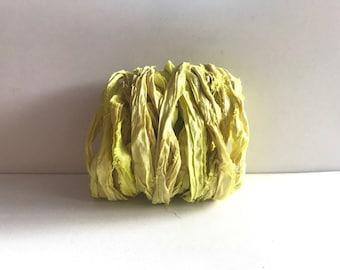 10 Yards Sari Silk Ribbon - Recycled Sari Silk Ribbon - Lemon Yellow Sari Ribbon Yardage