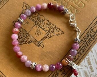 Natural Ruby Bracelet - Facet Ruby Gemstone Bracelet - 6mm Ruby & Sterling Bracelet