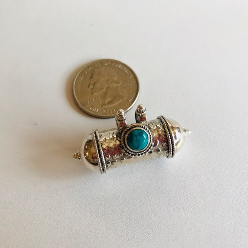 Bali Silver Pendant With Turquoise  Bali Silver Barrel image 0