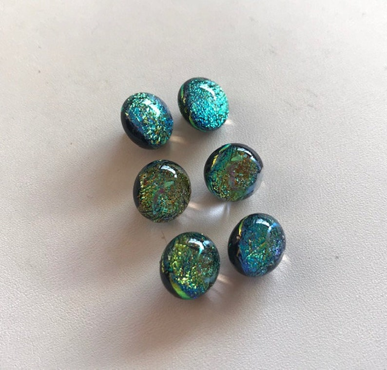 Dichroic Glass Button Set  Dichroic Glass Lampwork Buttons  image 0