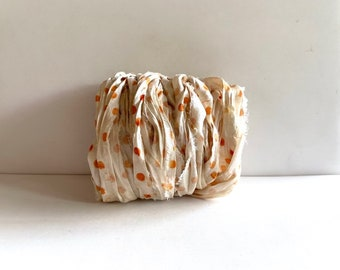 Recycled Sari Silk Ribbon - Sari Silk Ribbon Yardage - Cream With Tangerine Dots, 10 Yds