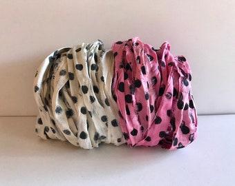 Silk Sari Ribbon-Antique White & Pink Polka Dot Sari Ribbon-10 Yards