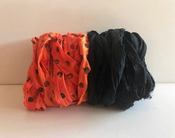 10 Yards Recycled Sari Silk Ribbon - Sari Silk Ribbon, Orange Dot & Black, 5 Yards Each Color