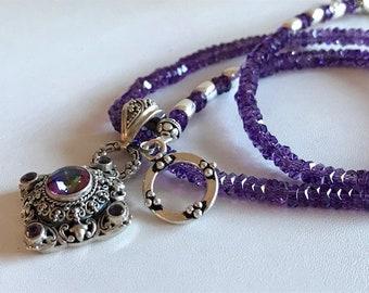 Amethyst Necklace-Mystic Quartz Pendant Necklace