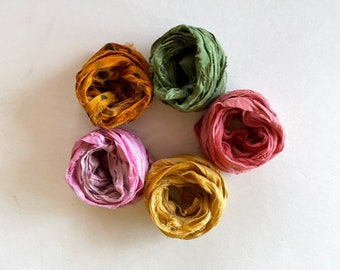 5 Color Sari Silk Sampler - Recycled Multi Sari Ribbon - 5 Fun Colors, 2 Yds Each, 10 Yds Total