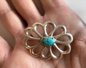 Turquoise & Silver Pin - Silver Flower Pin With Turquoise - Silver and Turquoise Brooch