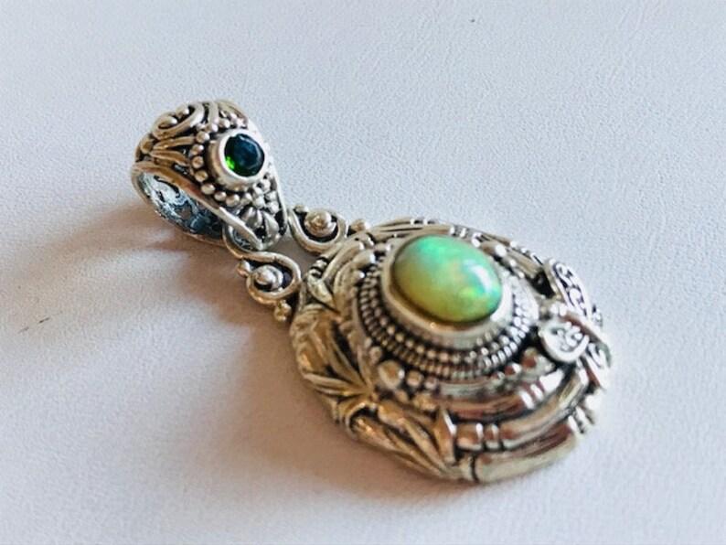 Ethiopian Opal Pendant With Peridot  Bali Silver & Gemstone image 0