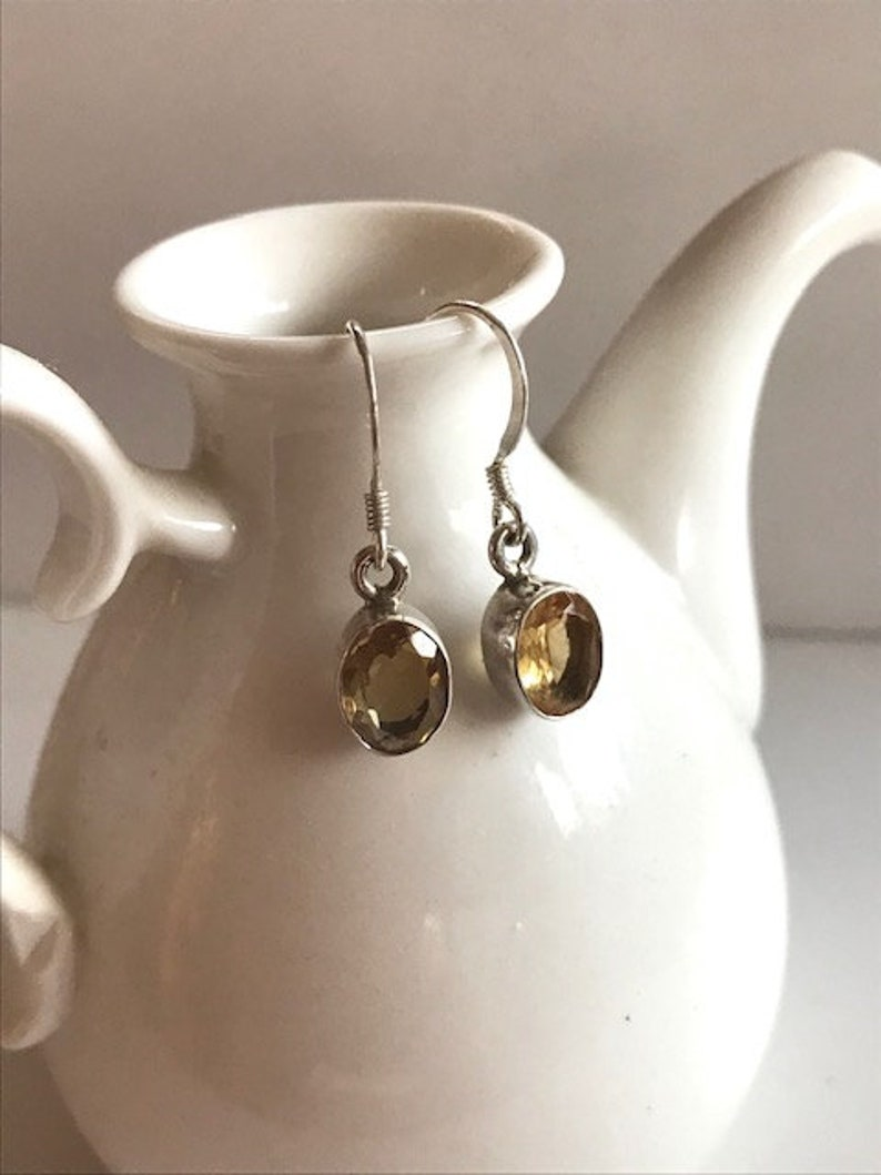 Citrine Drop Earrings With Sterling Silver  Citrine Jewelry  image 0