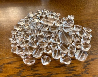 Clear Glass Crystal Bead Lot -  Faceted, Clear Glass Crystal Beads - Large Glass Bead Mix