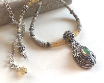 Ethiopian Opal Necklace - Opal Pendant Necklace - Opal Gemstone Necklace