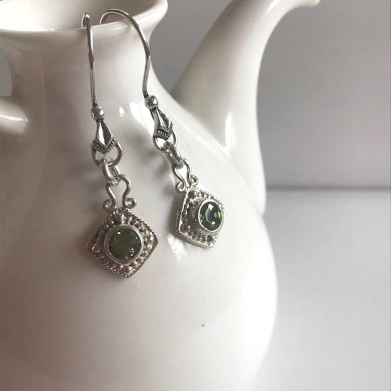 Peridot Drop Earrings With Sterling Silver  Peridot Jewelry image 0
