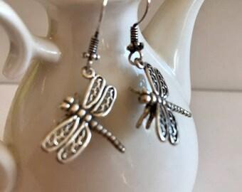 Dragonfly Earrings-Sterling Silver Earrings
