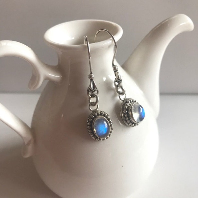 Rainbow Moonstone Drop Earrings With Sterling Silver  image 0