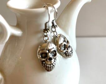 Skull Face Earrings - Sterling Silver Earrings - Silver Sugar Skull Jewelry