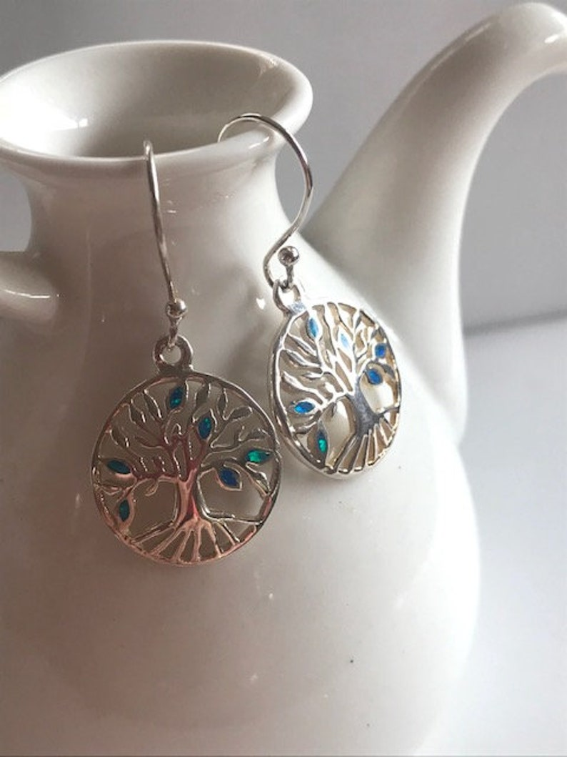 Silver Tree of Life Earrings  Sterling Silver & Opal Earrings image 0