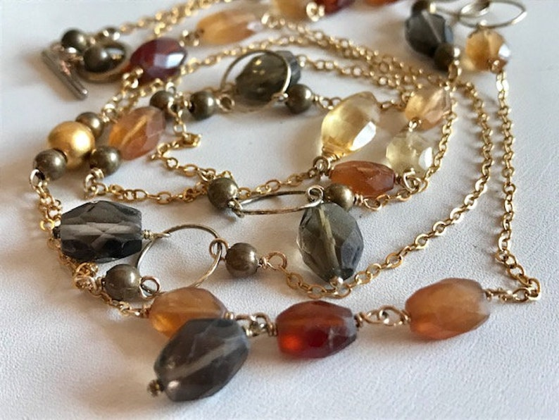 Long Gemstone & Gold Fill Chain Necklace  Gemstone Necklace  image 0