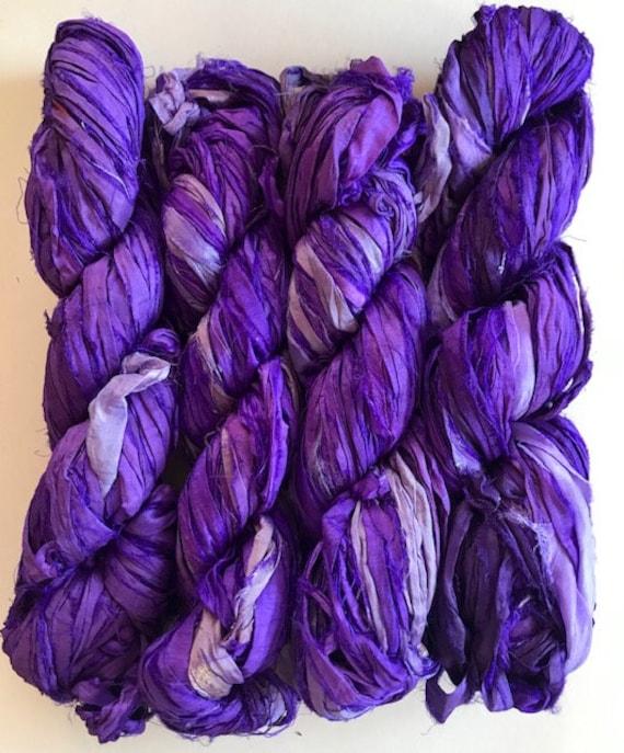 denim shades for tassels 10 yards Recycled Sari Silk Ribbon Yarn