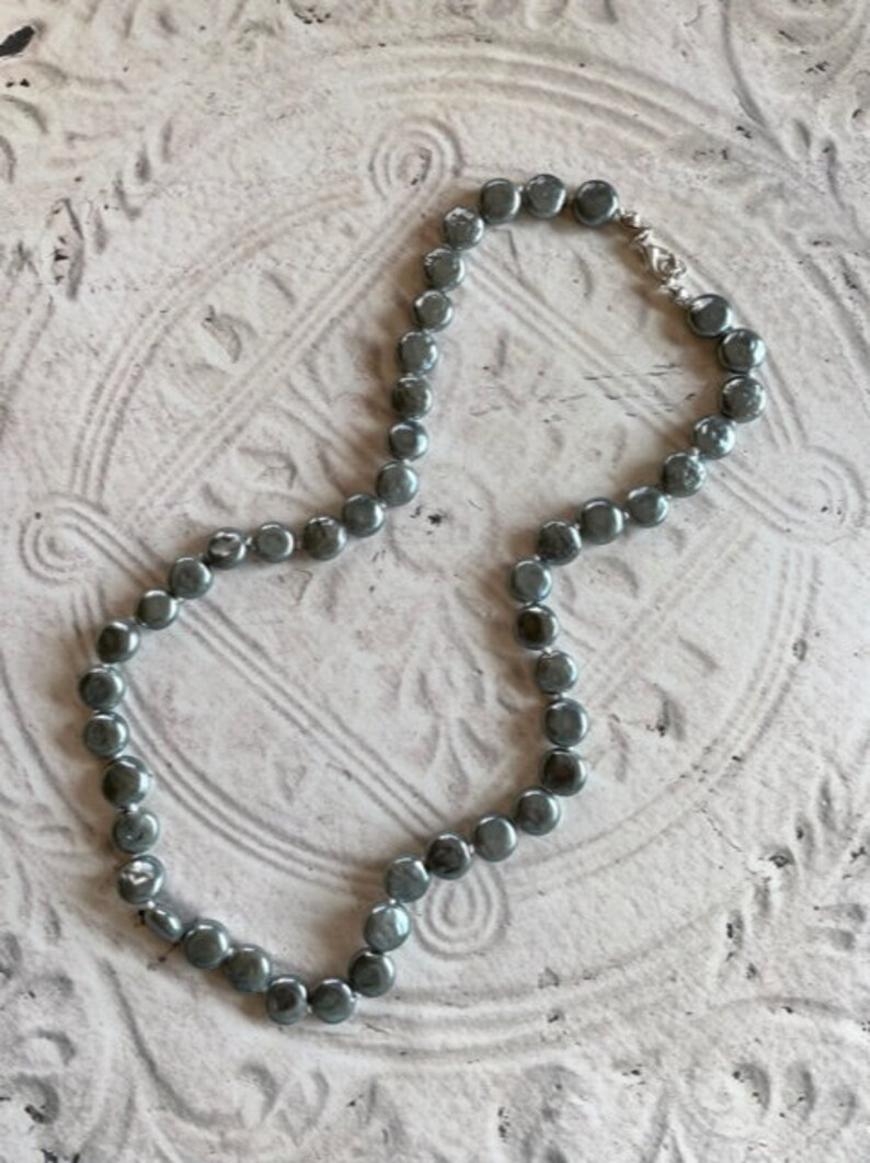 Coin Pearl Necklace Freshwater Pearl Jewelry Blue Gray Knotted Coin Pearl Necklace