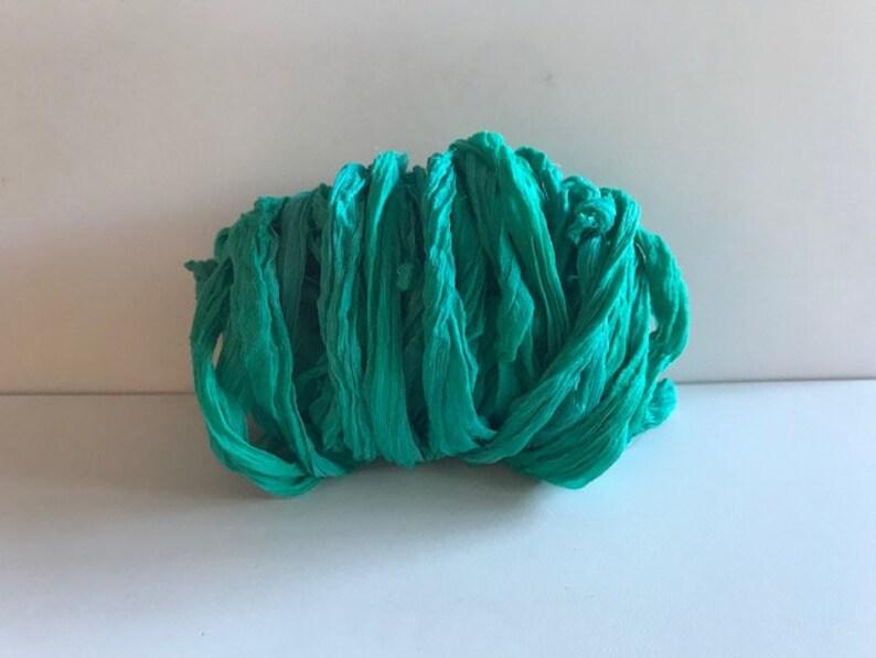 Chiffon Sari Silk Ribbon  Recycled Sari Silk Ribbon  Aqua image 0